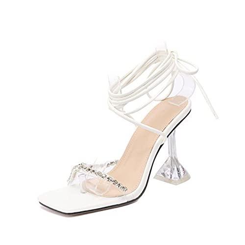 Sandalias Tacón Alto, Mujer Zapatos Tacón Fino Cordones Transparentes Puntera Cuadrada, Tira Tobillo Fiesta Salón Elegante Boda,Blanco,43