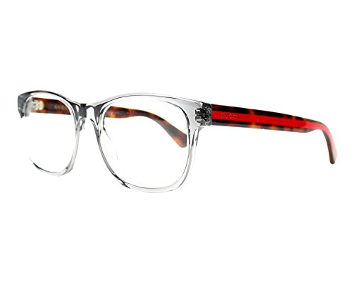 Gucci 0004O 004 Transparent Light Grey Plastic Square Eyeglasses 53mm