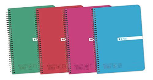 Enri Status 400073983 - Pack de 5 cuadernos espiral, tapa plástico translúcido, 4º