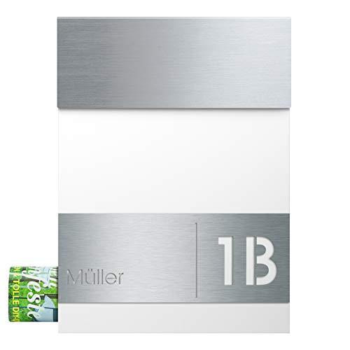 Briefkasten mit Zeitungsfach Edelstahl/signal-weiß (RAL 9003) MOCAVI Box 510 Postkasten mit Hausnummer und Name Gravur, moderner Briefkasten Edelstahl-Deckel V4A groß