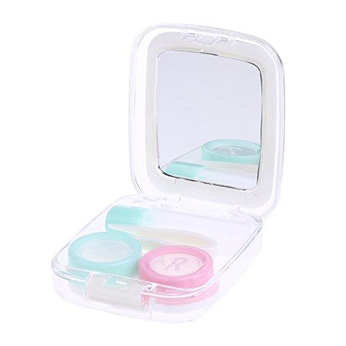 Custodia Caso Contenitore Applicatore Holder Kit per Lenti A Contatto con Specchio - Bianco, Taglia unica
