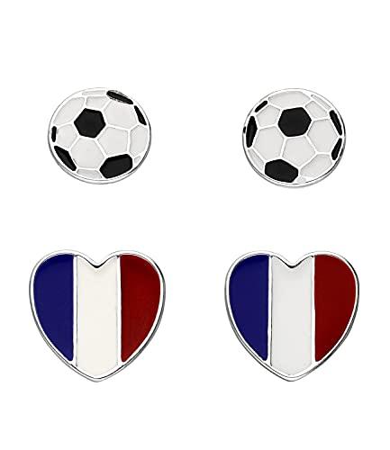 SIX Frankreich Ohrschmuck-Set, Herzen, Fußball, Fanartikel, Accessoire zur Europmeisterschaft, Nationalelf (679-871)