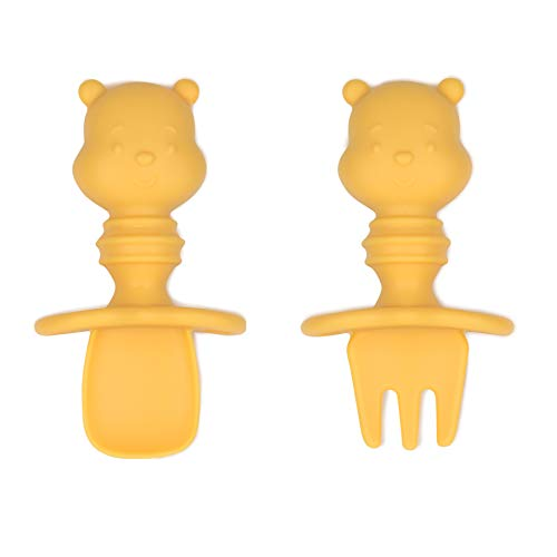 Bumkins Utensils, Disney Silicone Chewtensils, Baby Fork & Spoon Set, Training Utensils, Baby Led Weaning Stage 1 for Ages 6 Months+ Winnie The Pooh