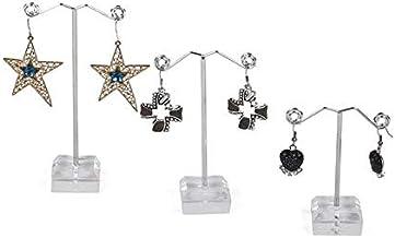 Coollooda T Stand for Stud Dangle Hoop Earrings Earrings Organizer 3Pcs Metal Earrings Holder Jewelry Display Stand Transp...