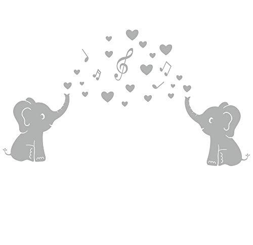 BDECOLL Tres lindos elefante pared calcomanía con lengua de amor Baby bebé monograma niños habitación (Blanco)