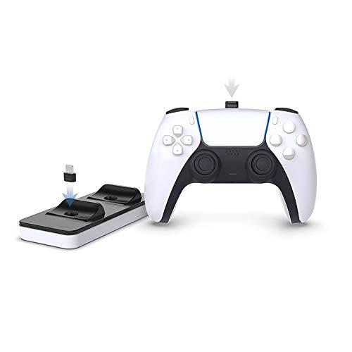 HongHe Estación de Carga portátil para mandos PS5, Cargador Dual de mandos PS5 con 2 Puertos de Carga Tipo C extraíbles, Blanco