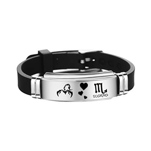 FENICAL constelaciones de escorpio pulsera de signo del zodiaco pulsera de brazalete de silicona de acero inoxidable ajustable regalo de joyería de cumpleaños