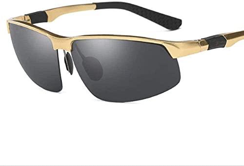 UV400 - Gafas de sol para hombre, diseño de magnesio, color negro y dorado