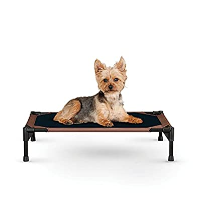 """K&H Pet Products Original Pet Cot Elevated Pet Bed Small Chocolate/Black Mesh 17 by 22"""""""