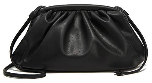 Obosoyo Damen-Handtasche, Clutch, Umhängetasche, Abendtasche, Schwarz (Schwarz-klein), Einheitsgröße