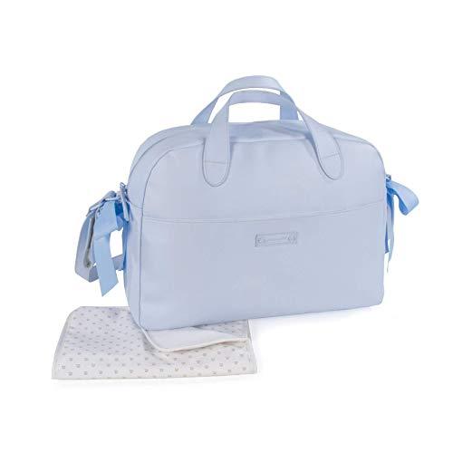 Pasito a Pasito. Bolsa para Carrito de Bebé Essentials. Bolsa Organizadora Práctica Elegante y con Espacio Amplio, Fabricada en Eco-leather de Color Azul. Medidas 43 X 31 X 16 cm.