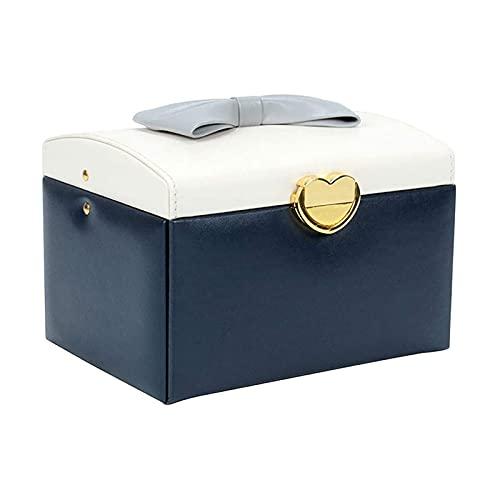 LSLS Caja joyero Caja de joyería Organizador Caja de joyería 3 Capas PU Caja de Almacenamiento de Joyas de Cuero con cajón para niñas y Mujeres. Organizador de Joyas
