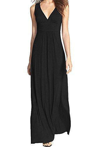 WOOSEA Women Sleeveless Deep V Neck Loose Plain Long Maxi Casual Dress Black