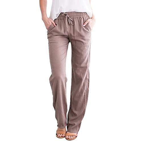 Hawasky Summer Casual Drawstring Elastic Waist Pants for Women Loose Linen Lightweight Yoga Pants with Pockets Khaki