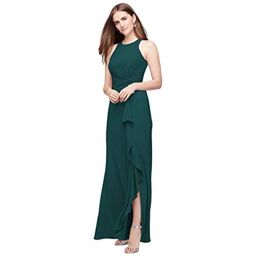 High-Neck Bridesmaid Dress with Cascade Twist Style F19992, Gem, 24