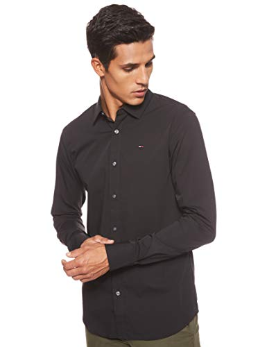 Tommy Hilfiger Original Stretch Camisa, Negro (Tommy Black
