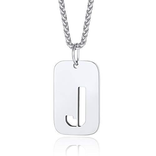 ChainsPro Collar Placa Militar con Letra Alfabética J para Hombre Mujer Cadena Resistente Acero Inoxidable 316L 55cm Collares Hipoalergénicos para Gargantilla Cuello Alfabeto Letras para Amigos
