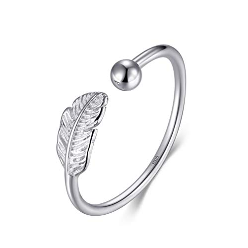 nuoshen 925 Sterling Silver Feather Ring,Silver Ring Feather Open Finger Leaf Ring for Girls Women Gift