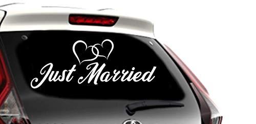 Shirtstown Just Married Aufkleber Hochzeit Liebe Herzen Sticker Auto 60 cm, Farbe Weiss