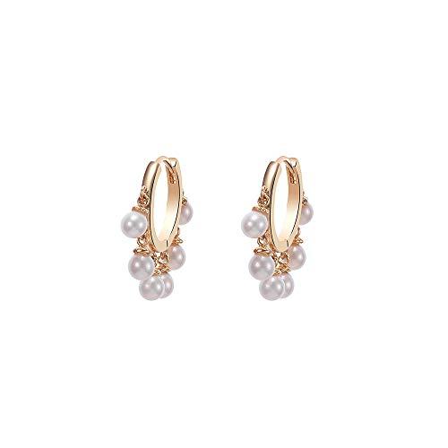 Orecchini a cerchio da donna con luminose perle pendenti, ipoallergenici, placcati in argento e in oro rosa, idea regalo per mamma e amiche e Rame, co