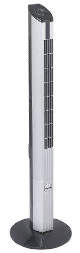 Bestron Design-torenventilator met zwenkfunctie, hoogte: 107 cm, 50 W, zwart/grijs