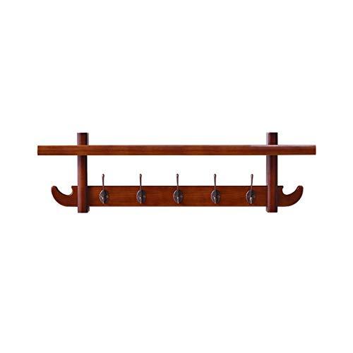 HJW Praktische opbergrek massief hout entryway kapplank met dubbele haak, wandmontage opknoping opbergrek voor deur achter woonkamer slaapkamer display 1Huiyang-01020,5 haken-80cm
