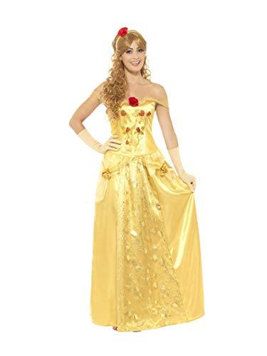 Smiffy's - Dames gouden prinses kostuum, lange jurk, handschoenen en haarband, goud