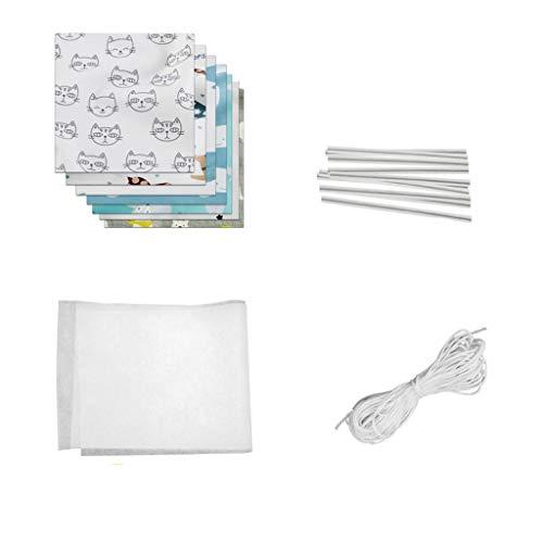 PPangUDing Baumwollstoff meterware Stoffpaket 7 Stück je 50 x 50 cm Stoffe zum Nähen Meterware Baumwollstoff Patchwork mit Elastische Seil Nasenbügel, für Scrapbooking Selber Quilten Nähen (A)