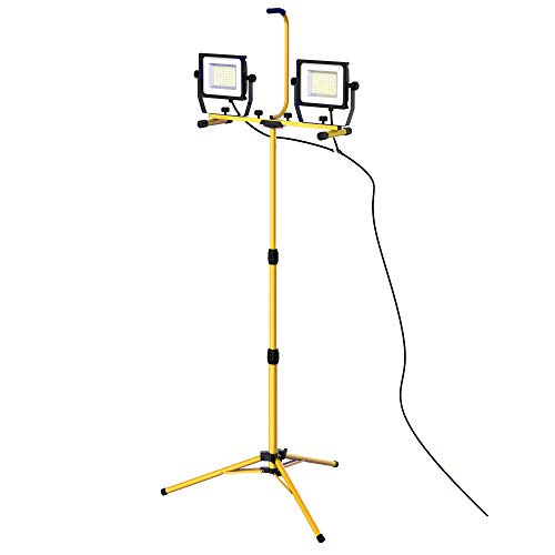 HOMCOM 14,000 Lumen Dual Head LED Work Lights Weather Resistant with Telescoping Adjustable Tripod Stand, Rotating Lamps