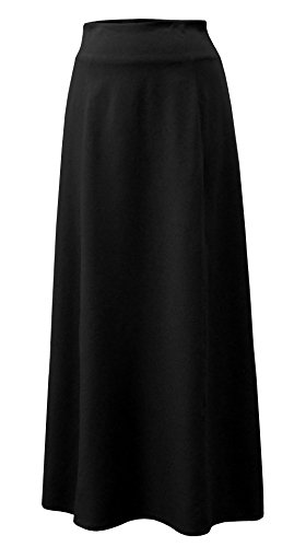 Baby'O Women's Stretch Cotton Knit Panel Maxi A-Line Skirt (Large, Black)