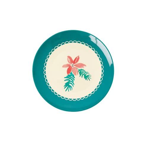 Rice Plato de postre redondo pequeño de melamina – 2020 con estampado de flores navideñas
