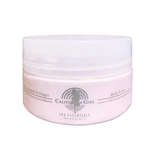 California Girl Spa Essentials Body Butter Lotion for Women, 8 oz. Natural Vitamin E and Pomegranate Hydrating Cream Shea Moisturizer to Tighten, Tone, and Rejuvenate Dry Skin