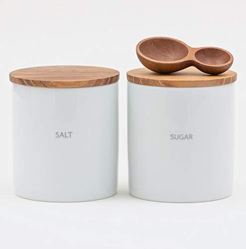 LOLO | 保存容器 | SALT & SUGAR | キャニスターセット | スプーンつき | 日本製 | 陶器 | 磁器 | チーク | 蓋つき |