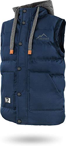 normani Outdoor Sports Wattierte Steppweste Bodywarmer - 100% Winddichte Outdoor Weste mit Lederpatch, Kapuze und Stehkragen Farbe Navy Größe L/52