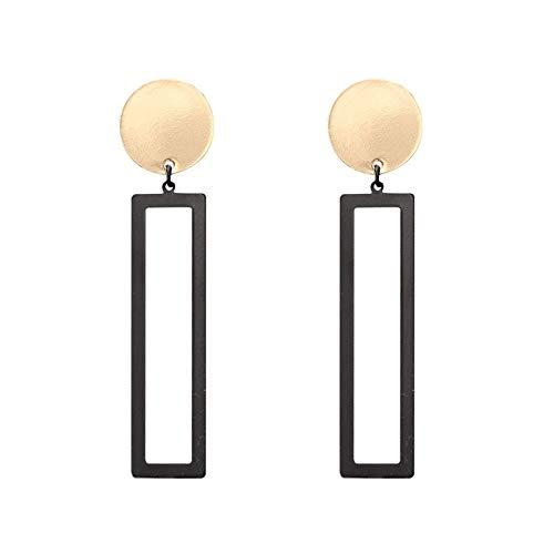 Family Needs Geometrische Orthogonal Metal Oorbellen Minimalistische lange sectie Ear Chandelier Trend Retro Ear Ornaments (Color : GoldenBlack)