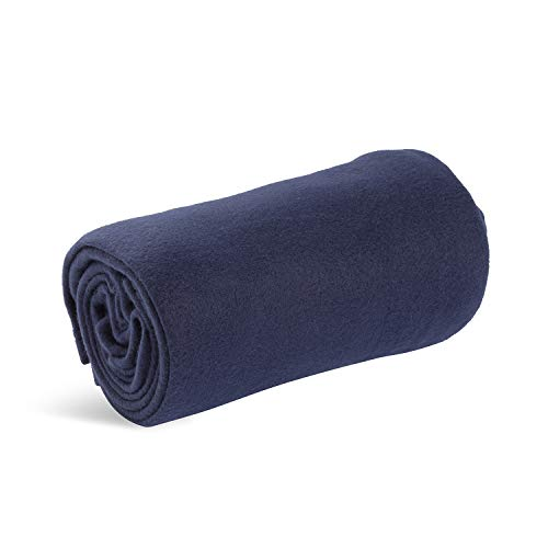 World's Best Cozy-Soft Microfleece Travel Blanket, 50 x 60 Inch, Navy