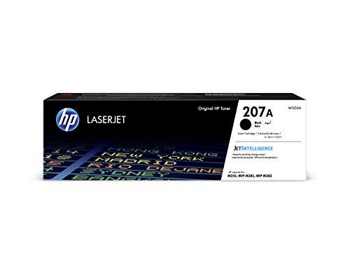 HP 207A W2210A, Negro, Cartucho Tóner Original, de 1.350 páginas, para impresoras HP Color LaserJet Pro MFP M282nw, MFP M283fdn, MFP M283fdw, M255dw y M255nw