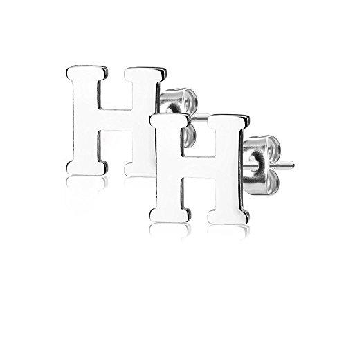 Bungsa BUCHSTABE H Ohrstecker Silber - BUCHSTABEN H Ohrring in Silber - Alphabet Ohrringe zum Stecken - aus Edelstahl - Ohrschmuck für Damen, Kinder & Herren