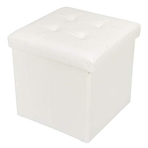 Weichuang - Taburete de almacenamiento (38 x 38 x 38 x 38 cm, piel de PVC, superficie cóncava, color blanco