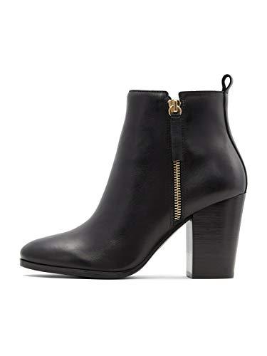 ALDO womens Noemieflex Block Heel Ankle Boot, Black Leather, 8.5 US