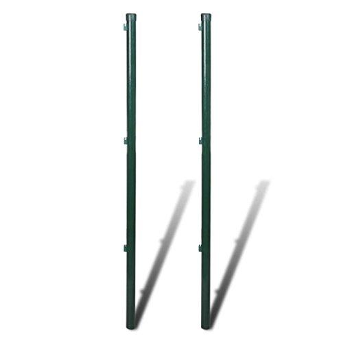 Festnight 2X Zaunpfosten Hoehe 200 cm | Metall Zaunstrebe Zaunpfahl Gartenzaun Strebe Pfosten für Maschendrahtzaun Dunkelgrün