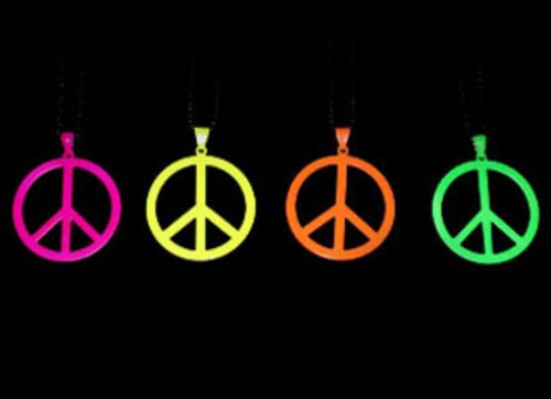Neon Peace-Sign Ketting Neon Geel