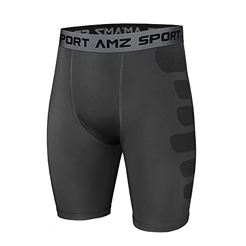 AMZSPORT Pantaloncini da Compressione per Uomo Pantaloni da Allenamento per Allenamento Sportivi Raffreddare a Secco, Grigio, L