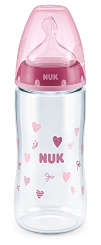 NUK 10216000 First Choice Plus PA-Flasche, kiefergerechter Trinksauger, 300 ml, 6-18 Monate, 1 Stück, pink