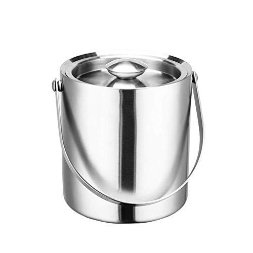 GSAGJbt Cubo de Hielo de Acero Inoxidable, Aislamiento de Doble Capa Cubo de Espesamiento Acabado de Pulido, Barril de Vino, Barril de Cerveza, 2L / 3L (Size : 3l)