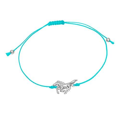 Five-D - Braccialetto per bambini a forma di cavallo, lunghezza variabile, in argento Sterling 925, in confezione regalo e Argento, 0, colore: Blu, cod. SL-kinderarm9a