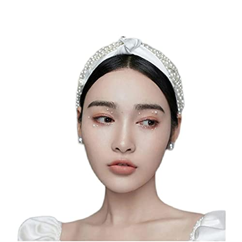 RENSLAT Diadema de Perlas Hecha a Mano para Novia, Tocado Retro francés, Modelo de fotografía, Accesorios de Estudio fotográfico de Boda