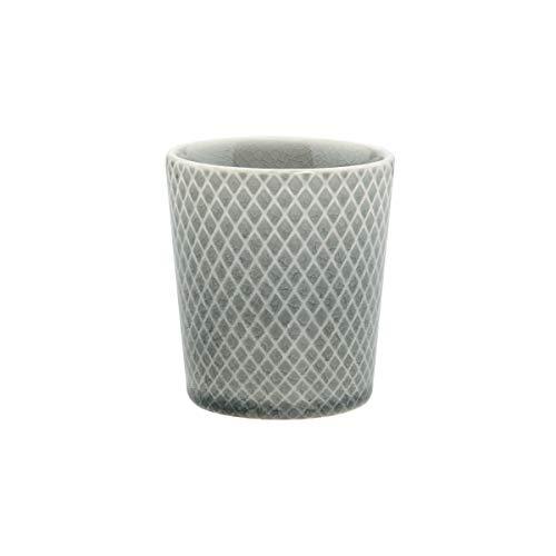 BUTLERS Hanami Teebecher in Grau mit Rauten 200 ml - Asiatische Teetasse aus Steingut - Keramik Becher, Kaffeebecher