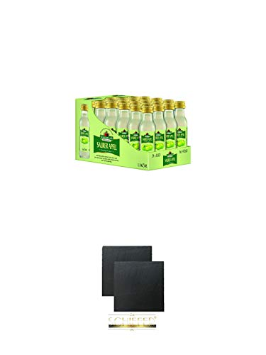 Nordbrand Saurer Apfel 24 x 0,02 Liter Minis + Schiefer Glasuntersetzer eckig ca. 9,5 cm Ø 2 Stück