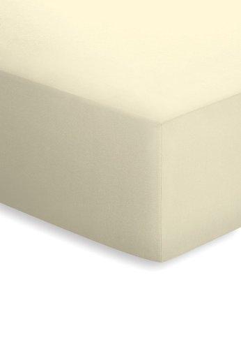 schlafgut Mako-Jersey Basic Spannbetttuch, Baumwolle, Ecru, 200 x 150 cm